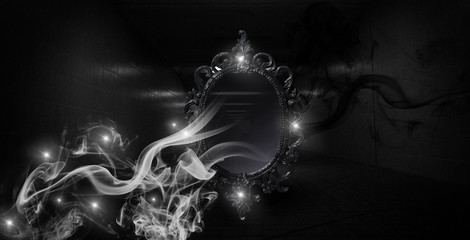 Mirror magic, fortune telling and fulfillment of desires. Fantasy with a mirror, dark room, magical power, night view.