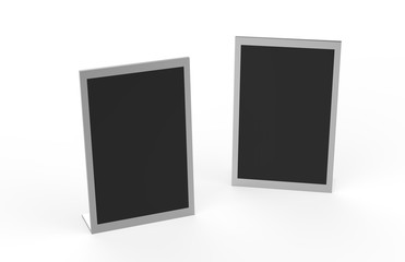 Modern Black Acrylic Tabletop, Wet Erase Liquid Chalk Board, Menu Display Write-On Board, Mock Up Template On Isolated White Background, 3D Illustration