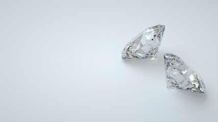 Diamonds Isolated On The White Background - 3D Illustration
