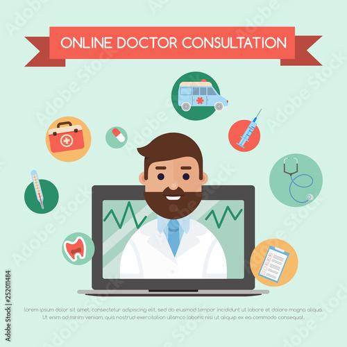 Online doctor concept banner vector illustration  Doctor