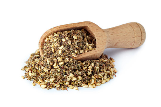 Za'atar (zatar), Middle Eastern spice mixture isolated on white background