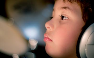 Foto op Plexiglas Beauty closeup portrait of young boy sad face look lost profile person baby cute people