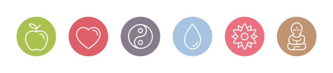 Yoga und Gesundheit - Symbole