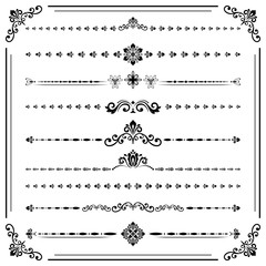 Vintage set of vector decorative elements. Horizontal separators in the frame. Collection of different black and white ornaments. Classic patterns. Set of vintage patterns