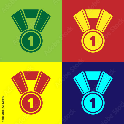 Color Medal icon isolated on color backgrounds  Winner