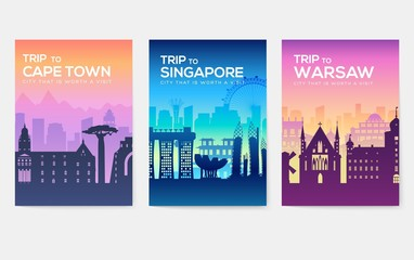 Travel information cards. Landscape template of flyear, magazines, posters, book cover, banners. Country of Chile, Canada, Thailand, Spain, Malaysia, Africa, Asia, Poland, UAE and Jerusalem set Wall mural