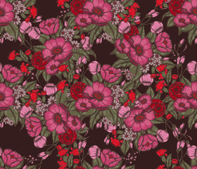 Vector Moody Florals seamless pattern