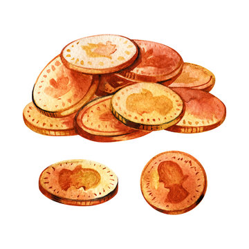 Bunch of gold coins. Watercolor illustration on white