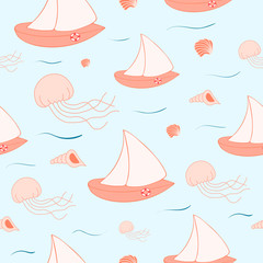 Summer sail seamless pattern. Sea party vector background with yacht, boat, jellyfish.