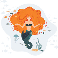 MERMAID LIFE Cartoon Travel Tropical Vector Illustration Set for Print, Fabric and Decoration. Vector illustration. Perfect for print design for textile, poster, greeting card, invitation.