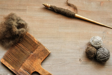 Flatlay background with old female craft instruments