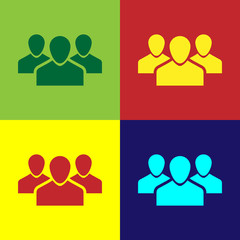 Color Users group icon isolated on color backgrounds. Group of people icon. Business avatar symbol - users profile icon. Flat design. Vector Illustration
