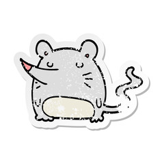 distressed sticker of a cartoon mouse