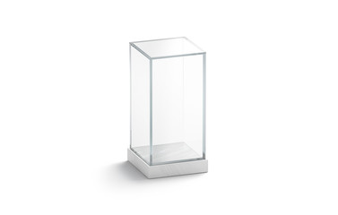 Blank white vertical glass showcase mock up, isolated, 3d rendering. Empty decor vase for flowers or statuette mock up. Clear plexiglass storage dome. Podium for installation template.