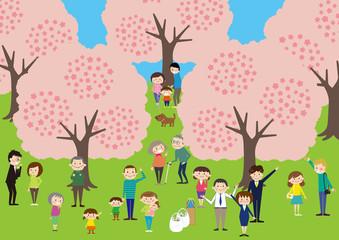 お花見で桜を楽しむ人々