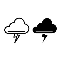Cloud and thunderstorm line and glyph icon. Lightning bolt in cloud vector illustration isolated on white. Storm outline style design, designed for web and app. Eps 10.