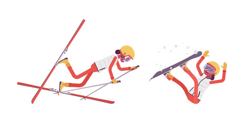 Sporty woman falling off in bad technique on ski resort. Girl in wrong skiing and snowboarding, active holiday, wintertime tourism. Vector flat style cartoon illustration isolated on white background