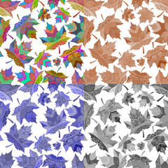 .Set of abstract seamless patterns of maple leaves