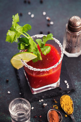 Bloody Mary cocktail with celery and spice
