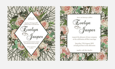 Set for wedding invitation, greeting card, save date, banner. Flowers, leafs, boxwood, brunia and eucalyptus, pink rose. Background of the grid and lines frame. Vector template