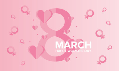 Happy Women's Day. International holiday of female solidarity, which is celebrated on March 8. Beautiful inscription decorated with bright hearts. Poster, banner and background