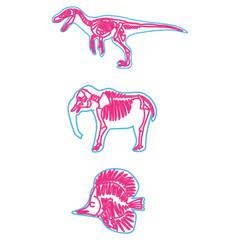 Velociraptor, elephant, fish vector light neon skeleton illustration. Fossil cartoon motif set. Hand drawn glowing bright animal skull elements.