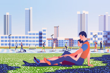 Couple in love on the lawn in the park