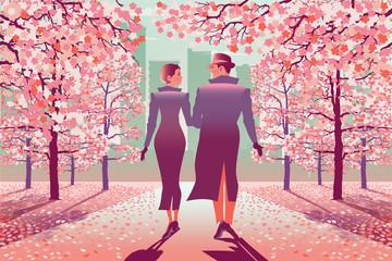 Loving couple in park in the spring