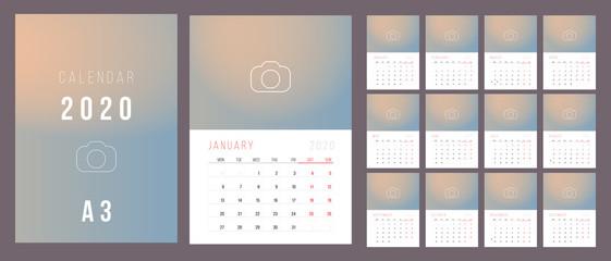 Calendar 2020. Week Starts on Monday.