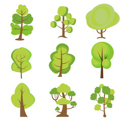 Set of cartoon trees. Green plants with for vegetation spring and summer backyard landscape wood plant. Nature forest lumber tree park vector isolated icons