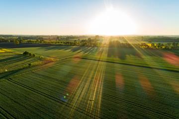 Foto auf Leinwand Himmelblau Landschaft in Deutschland aus der Luft