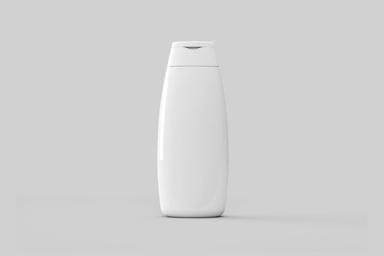White plastic Shampoo Bottle With Flip-Top Lid. Mock Up Template For Your Design.High resolution photo.