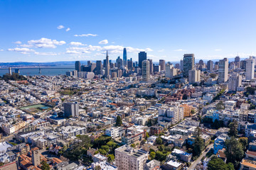 Fototapete - San Francisco downtown skyline aerial