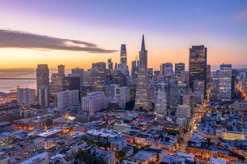 San Francisco downtown skyline aerial