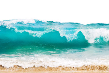 Fototapete - Blue and aquamarine color sea waves and yellow sand  with white foam isolated on white background. Marine beach background.