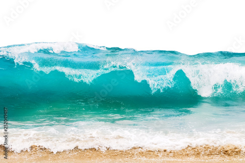 Wall mural Blue and aquamarine color sea waves and yellow sand  with white foam isolated on white background. Marine beach background.