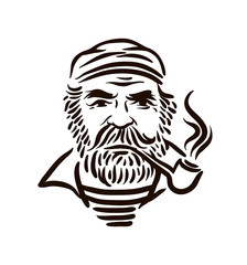 Hand Drawn vintage hipster sailor with thick beard and pipe on white background