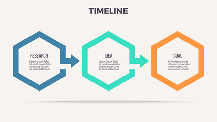 Business infographics. Timeline with 3 steps, options, hexagons. Vector template.