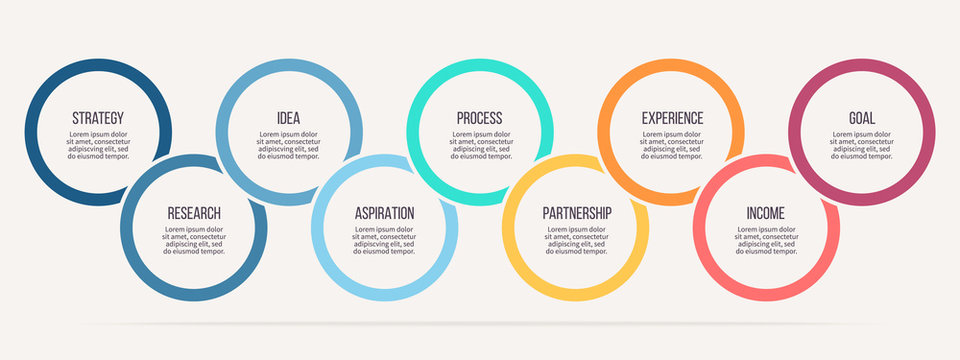 Business infographics. Timeline with 9 steps, options, circles. Vector template.