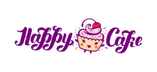 Vector illustration concept of colorful Graphic Cupcake icon on white background