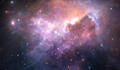 Fototapete - Glowing space nebula and stars in deep space