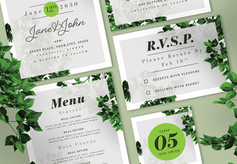 Wedding Suite with Green Elements and Leaf Imagery