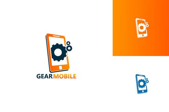 Gear Mobile Logo Template Design Vector, Emblem, Design Concept, Creative Symbol, Icon