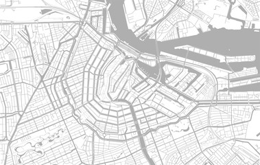 White and grey vector city map of Amsterdam