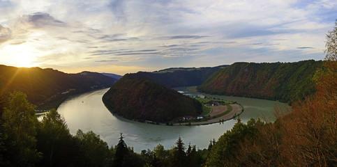 Fototapeten Fluss danube valley, schlögener schlinge, upper austria