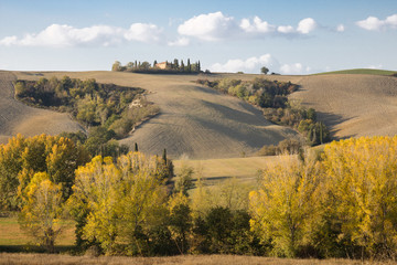 Countryside landscape. Countryside landscape with hills and a homestead; typical landscape of central Italy