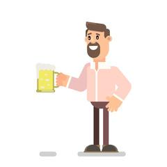 Bearded guy drinks beer