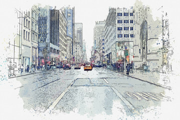 Watercolor sketch or illustration of a beautiful street view in New York in the USA with traditional modern buildings, road, cars and people. Everyday life
