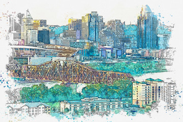 Watercolor sketch or illustration of a beautiful view of Covington in Kentucky in the USA. Cityscape or urban skyline