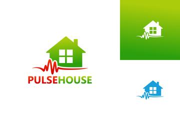 Pulse House Logo Template Design Vector, Emblem, Design Concept, Creative Symbol, Icon